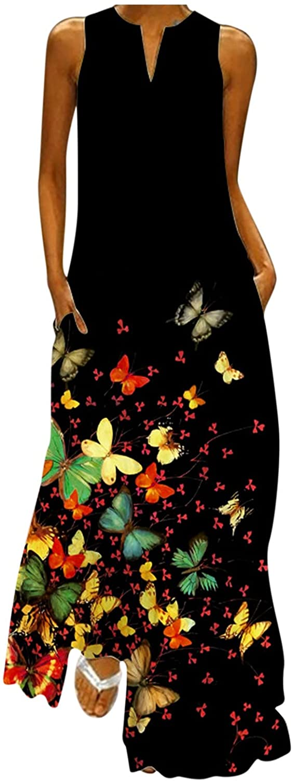 JPLZi Women Sleeveless V Neck Loose Plain Long Maxi Casual Dress Butterfly Print