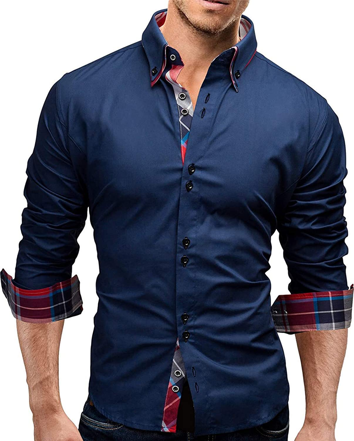 Xswsy XG Mens Casual Long-Sleeve Business Dress Shirts Solid Color Oxford Shirts