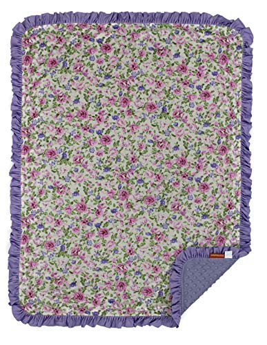 Dear Baby Gear Deluxe Baby Blanket, Double Layer Minky, Lavender Pink Floral, Lavender Minky Dot, Lavender Ruffle, 43 x 33 Inches