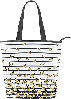 Mnsruu Große Handtasche aus Segeltuch, Strandtasche, Reisetasche, Einkaufstasche, süßer Schmetterling auf Marineblau, gestreift, Sommerurlaub, Handtasche für Damen, Mädchen