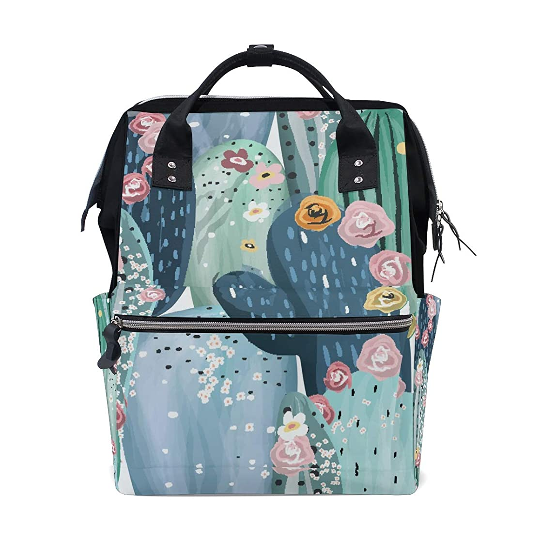 Cactus Flowers School Backpack Large Capacity Mummy Bags Laptop Handbag Casual Travel Rucksack Satchel For Women Men Adult Teen Children