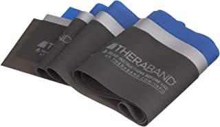 TheraBand Professional Non-Latex Resistance Bands for Physical Therapy, Portable Fitness, Home Workouts, Lower Pilates, Upper/Lower Body and Toning Exercises, Blue & Black & Silver, Advanced Set