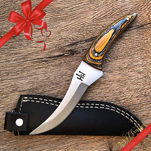 Hobby Hut HH-321 Custom Handgemachtes Jagdmesser mit Scheide, feststehende Messer, Extra Scharf, Fixed Blade Messe für Camping Jagd, lederscheide