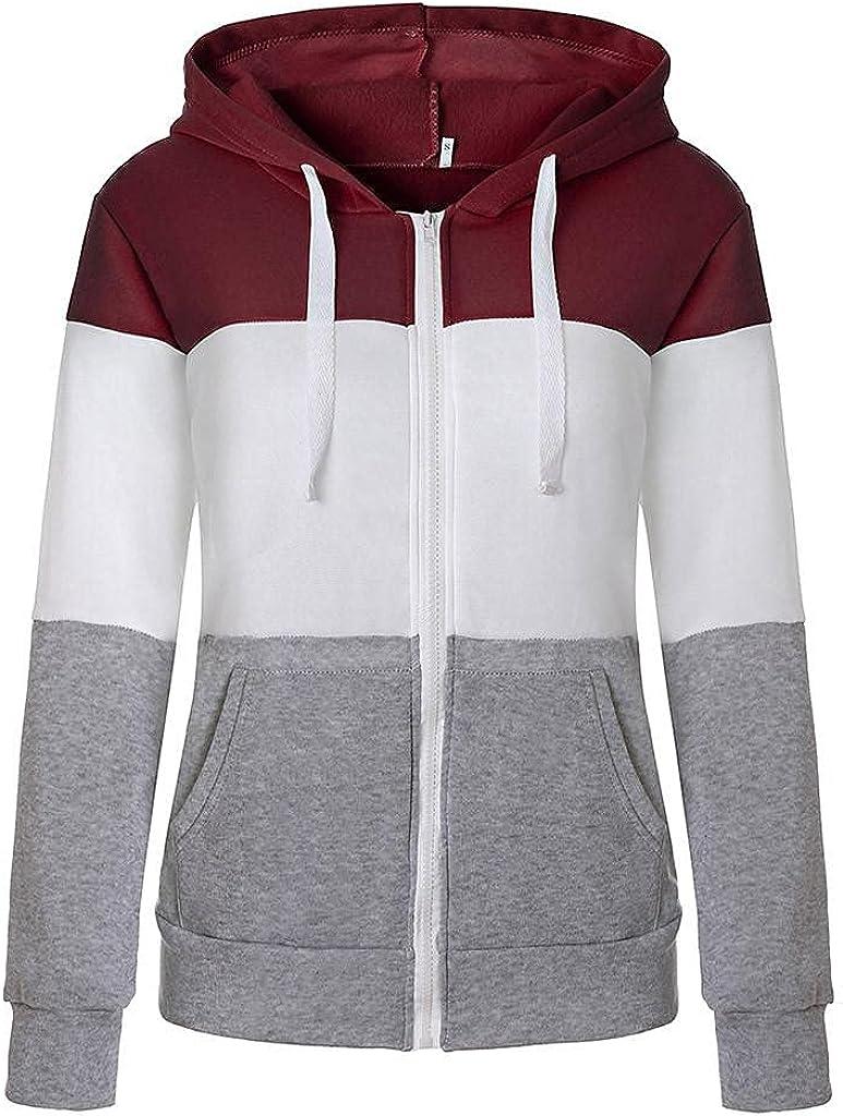 Toeava Plus Size Hoodies for Women,Women's Full Zip Up Hoodie Sweatshirt Pullover Color Block Casual Long Sleeve Tops