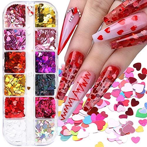 12 Colours Valentine's Day Heart Glitter Nail Art 3D Holographic Heart Glitter Nail Sequins Confetti Glitter Nail Decals for Nail Decoration Eye Face Body DIY Crafts