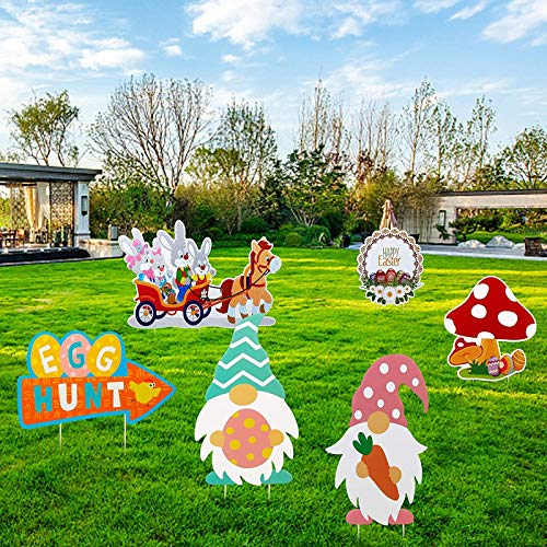 Ruidada 6PC Easter Gnomes Outdoor Spring Bunny Party Yard Lawn Decorations - Home Decor for Home & Garden - Easter St Patrick's Day Deal