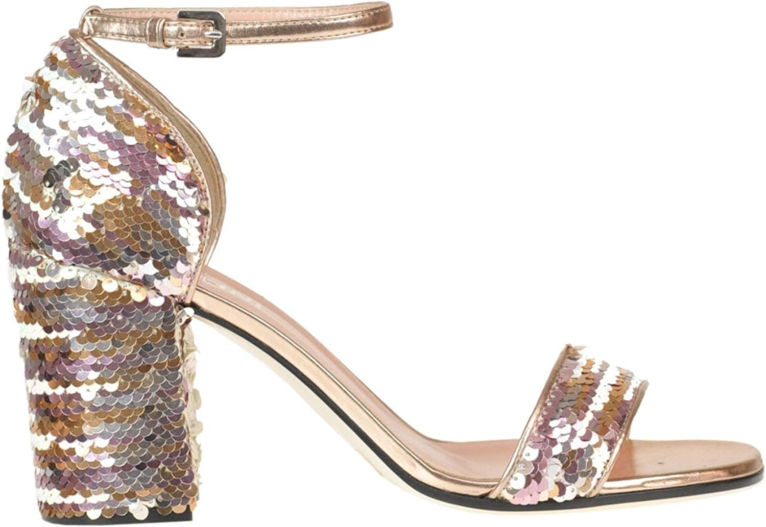 POLLINI Women's MCGLCAT000005217E bluee Sequins Sandals