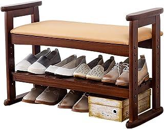 AOIWE Banc à chaussures en bois avec poignée réglable - Banc de rangement avec coussin d'assise - Économie d'espace - Faci...