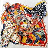 100% Mulberry Silk Scarfs for Women - Lightweight Floral Pattern Satin for Headscarf&Neck, 110CM Square Scarf.