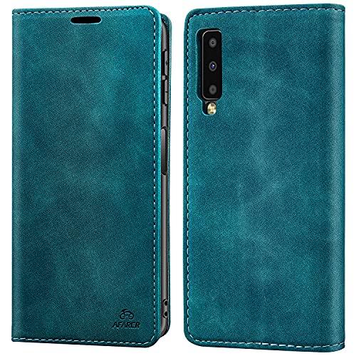 AFARER Einfache Art Brieftasche Handyhülle Kompatibel mit Samsung Galaxy A7 2018 - Blau