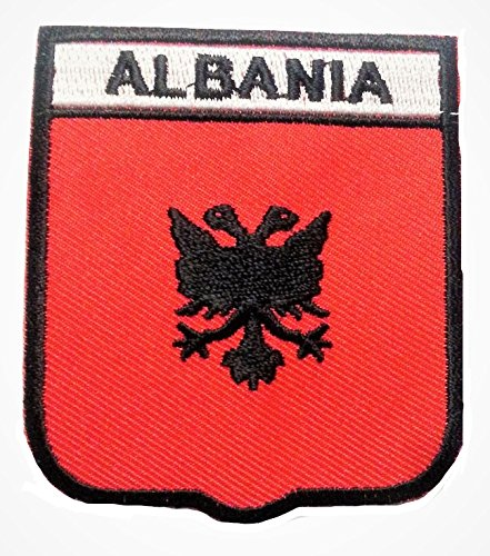 b2see Bügel Flagge Fahne Albanien Tirana Aufnäher Patch Aufbügler Applikation Stickerei Flaggen zum auf-bügeln auf-nähen