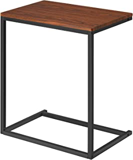 Kealive Sofa Side End Table Wood Finish Steel Construction C Shaped Coffee Table Tray Laptop Holder for Living Room, Snack Desk Nootbook Tablet 26'' Height Bed Couch Portable, Walnut