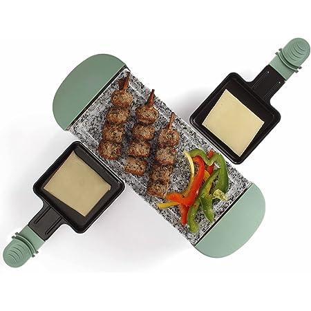 Raclette Grill 2 personnes Plaque grill Grill de table Grill électrique Plaque de granit Plaque de granit (2 mini poêles, revêtement antiadhésif, pieds antidérapants, turquoise)