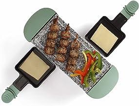 Raclette Grill pour 2 personnes Plaque de cuisson Grill de table Grill électrique Pierre chaude (2 poêles, revêtement anti...