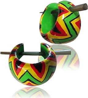 Verde legno pips Chic-Net orecchini a cerchio giallo rosso nero orecchini pin Pin Orecchini di legno Horn Pin 16 millimetri