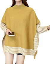 Cromoncent Womens Loose Fit Striped Batwing Sleeve Cape Poncho Knit Pullover Jumper Sweater