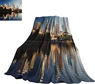 Unpremoon City,Personalized Blankets Idyllic View of Yarra River Melbourne Australia Architecture Tourism Custom Blankets 62