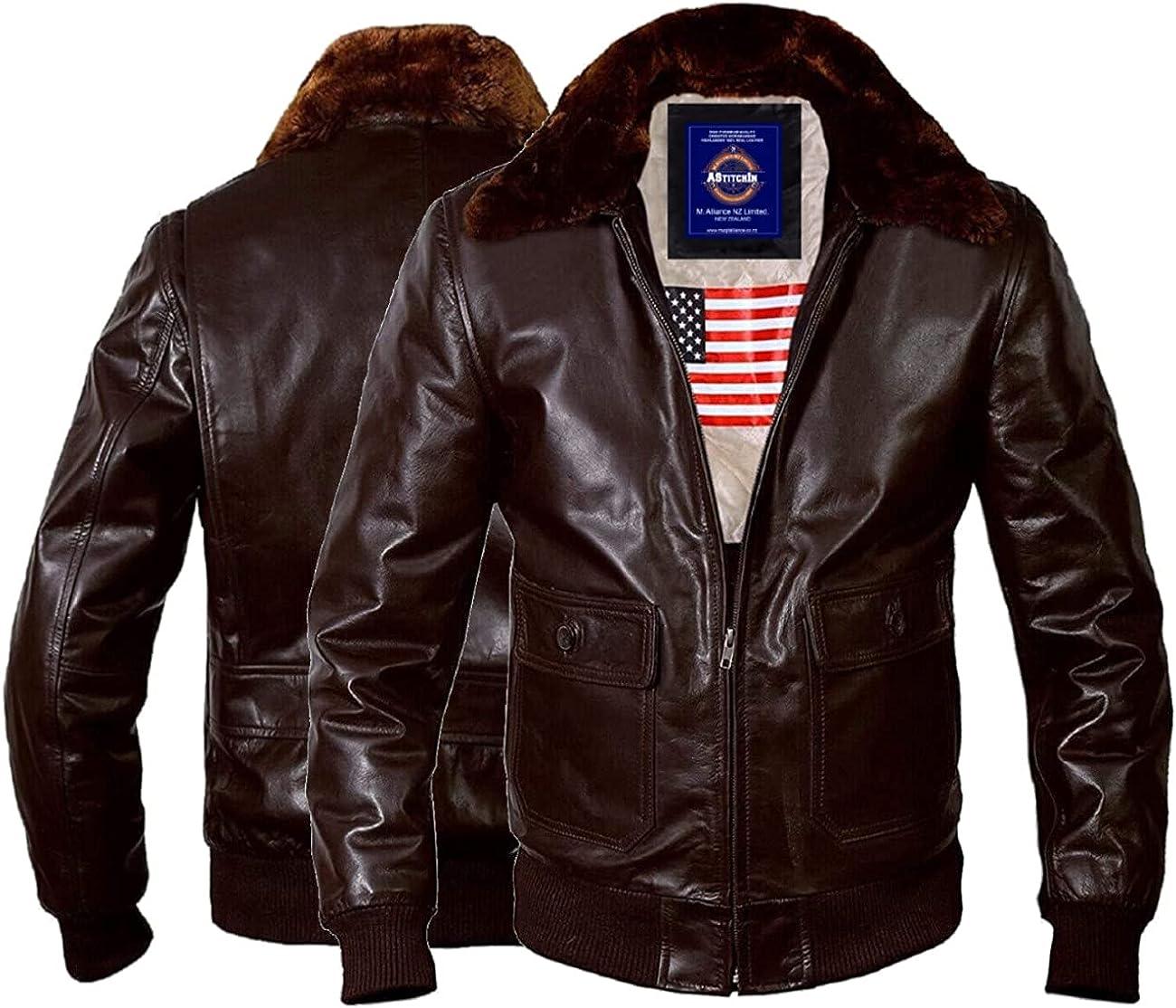 Men's Fashion WWll Navy G1 Fur Collar Flight Bomber Original Lambskin Leather Jacket For Men - AS/NZ-721901006