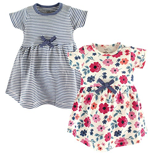 Touched by Nature Girls' Organic Cotton Short-Sleeve Dresses, Garden Floral, 3-6...