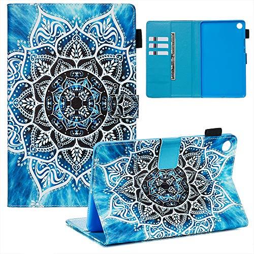 Ostop Kompatibel mit Huawei MediaPad M5 8.4 Hülle,PU Leder Brieftasche Slim Schutzhülle mit Stifthalter Magnetisch Flip Ständer Tablet Tasche für Huawei MediaPad M5 8.4,Blau Mandala