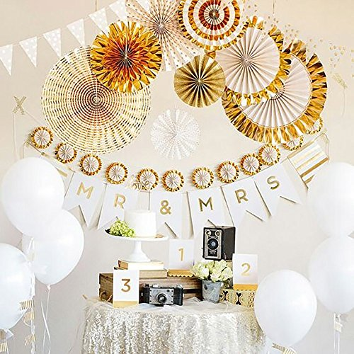 X-Sunshine Tissue Paper Fan 8pcs Mixed Size DIY Paper Fans Hanging Decoration For Wedding Party Home (Gold Set)