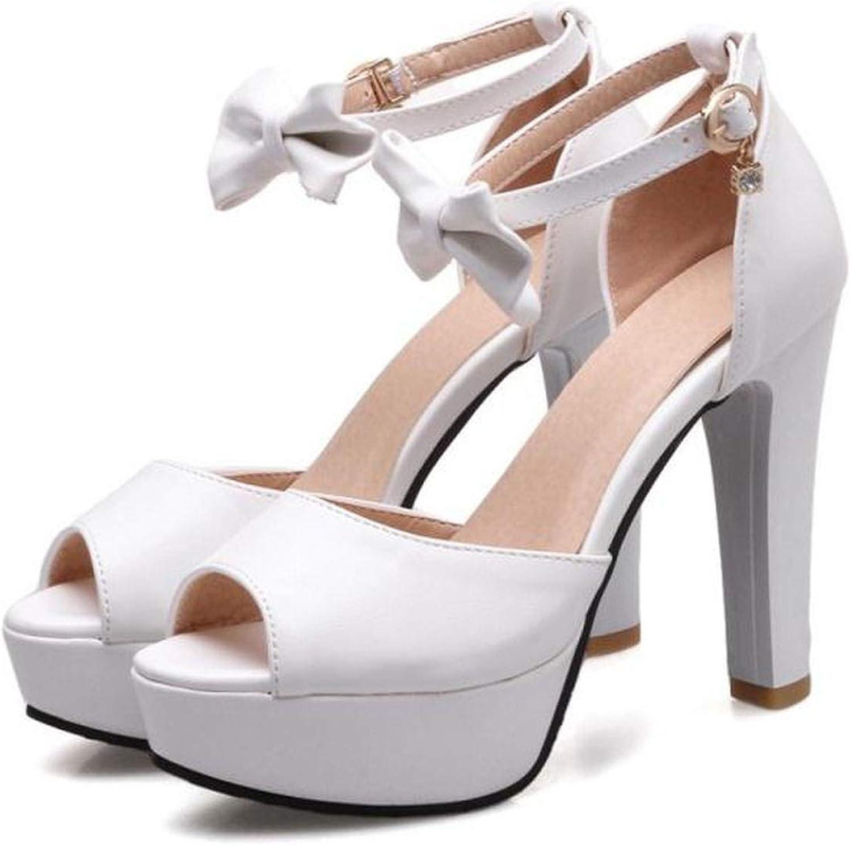 Women Sandals Lady High Heels Platform Bowknot Buckle shoes Ankle Strap Slip Soft Footwear