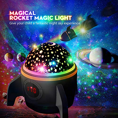 Rocket Star Projector Night Light for Kids - Baby Night Light Projector for Bedroom with Timer - Remote and Chargeable - Best Gift for Kids Upgrade Version - Black