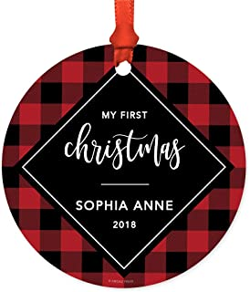 Andaz Press Personalized Baby 1st Christmas Metal Ornament, My First Christmas, Sophia Anne 2019, Modern Buffalo Red Black Plaid, 1-Pack, Includes Ribbon and Gift Bag, Custom Name