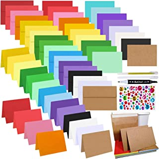 54 Sets 18 Colors A9 Invitations Envelopes 5 3/4 x 8 3/4 Self Seal with Blank Flat and Folded Note Cards Bulk DIY Card Mak...