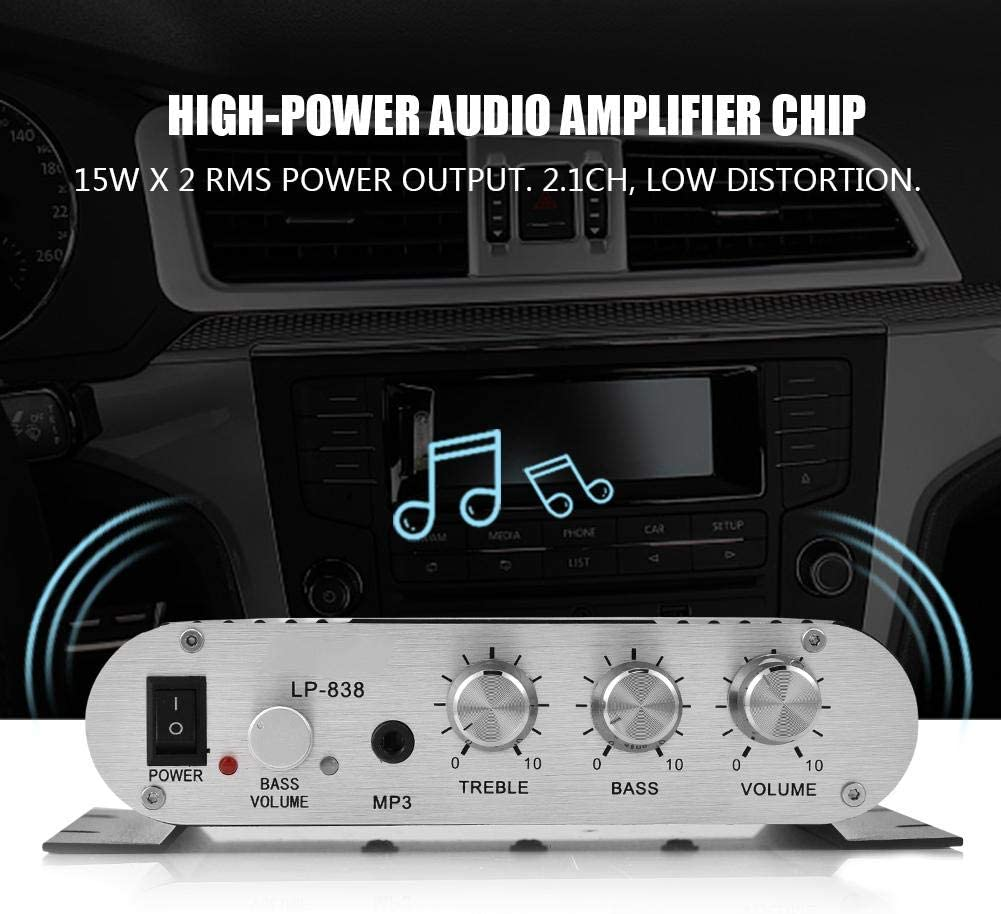 Silver Socobeta HiFi 2.1 Stereo Bass Power Amplifier Mini Audio Stereo Power Amplifier Digital Amp for Car Home