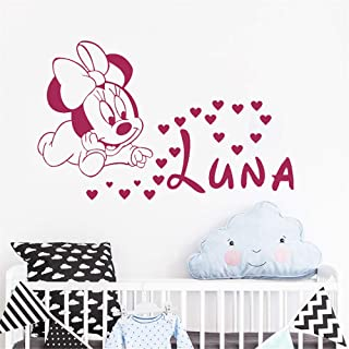 pegatina de pared Mickey Minnie Mouse Wall Art Decal Sticker Diy Minnie Mouse Nombre personalizado Vinilo