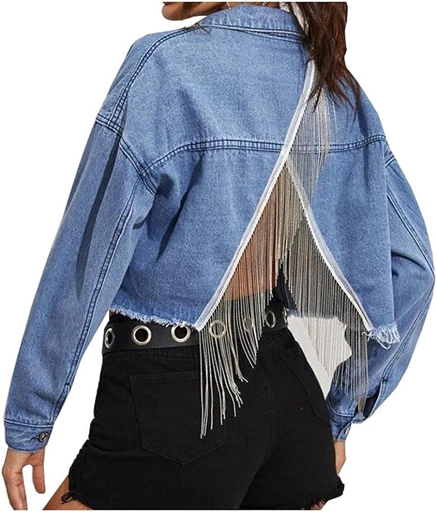 SCOFEEL Women's Crop Jean Coat Oversized Long Sleeve Relaxed Fit Denim Jackets with Fringe