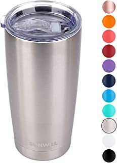 SUNWILL 20oz Tumbler with Lid, Stainless Steel Vacuum Insulated Double Wall Travel Tumbler, Durable Insulated Coffee Mug, Silver, Thermal Cup with Splash Proof Sliding Lid