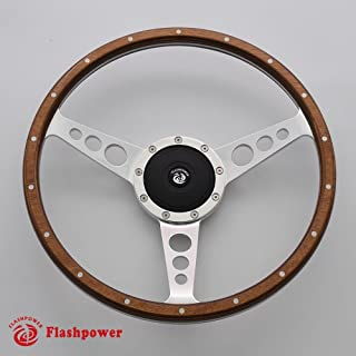 Flashpower 14'' Classic Riveted wooden steering wheel with Horn Button
