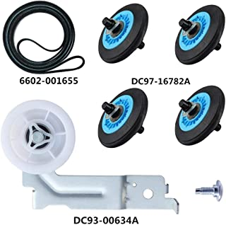 Dryer Repair Kit for Samsung Dryer Belt dryer Kit Include Dryer Roller DC97-16782A Dryer Indler Pulley DC93-00634A Dryer Drum Belt6602-001655 Replace AP5325135 AP4373659 AP6038887 PS4221885 PS4133825