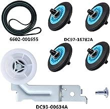 Dryer Repair Kit for Samsung Dryer Belt dryer Kit Include Dryer Roller DC97-16782A Dryer Indler Pulley DC93-00634A Dryer Drum Belt6602-001655 Replace AP5325135 AP4373659 AP6038887 PS4221885 PS4133825