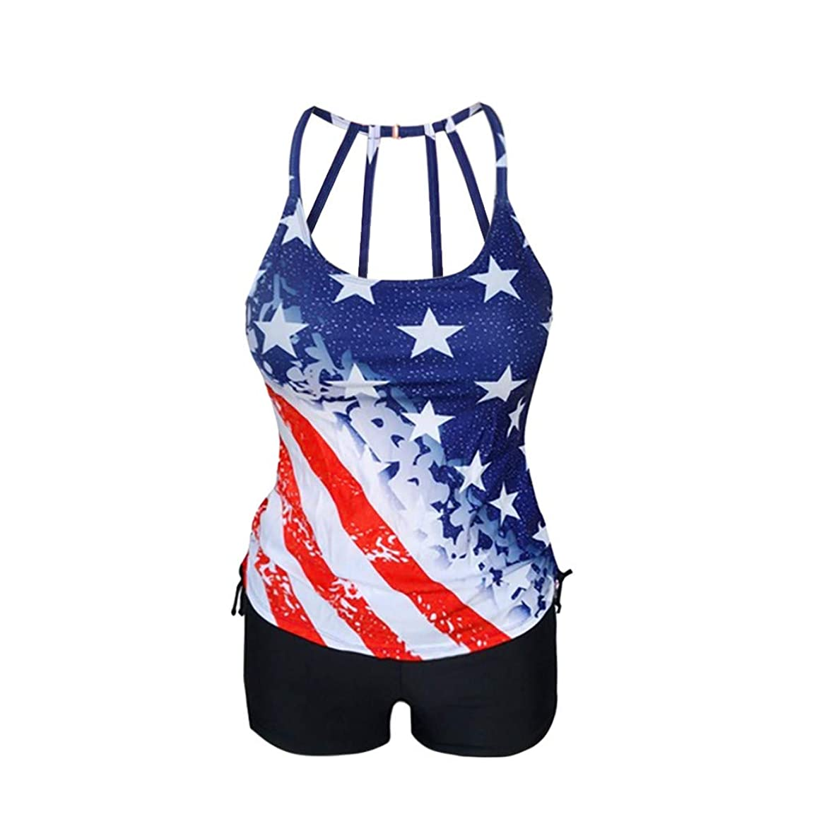 ??Sumeimiya Women's Independence Day Swimsuit, Sexy Stretchy Patchwork One Piece Bikini American Flag Print Swimwear