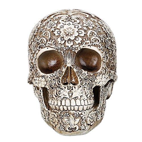 Gazechimp Menschlichen Schädel mit Blumen - Modell , Haus Tisch Ornament Halloween-Dekor