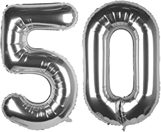 Tim&Lin 40 inch Silver 50 Number Jumbo Foil Mylar Helium Balloons - Party Decoration Supplies Balloons - Great for 50th Bi...