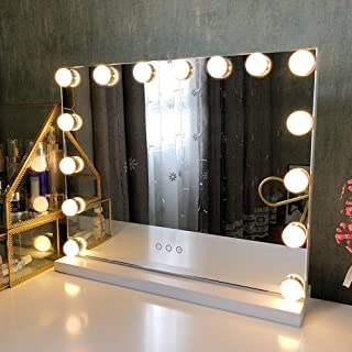 Fenair Makeup Mirror with Lights USB Outlet Hollywood Vanity Mirror, 3 Color Modes Cosmetic Mirror, Frameless Tabletop Mir...