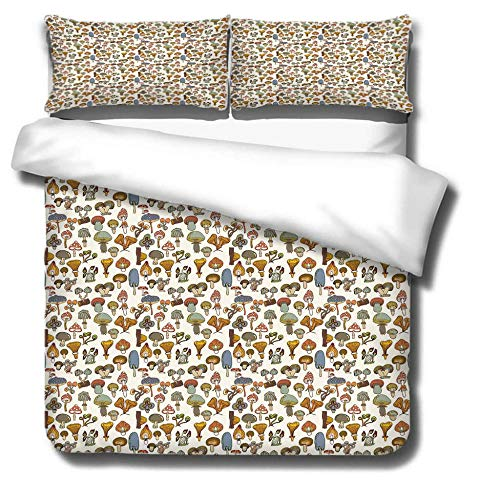 DJDSBJ Duvet Cover Single135x200cm bedding set,Polyester cotton quilt cover with zipper closure+2 pillowcases.Style for adults and children: Mushroom party