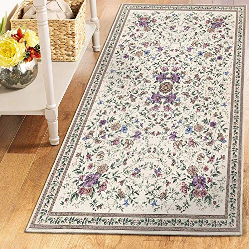 TALETA Aegean Teppich Orientalisch Aubusson mit Blumenmuster Border Wohnzimmer Beige 80x150cm