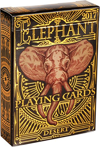Elephant Desert Playing Cards – Beautiful Deck of Cards, Hand Illustrated Poker Cards with Custom Faces. Incredible Foil and Intricate Detail Makes Them Great Gifts for Kids and Adults
