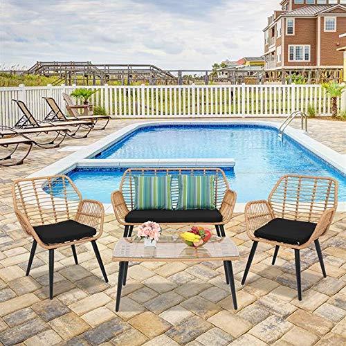 Silla de mimbre de ratán de acero PE para exteriores, estilo de cuerda de mimbre para patio, terraza, balcón, color gris (4 unidades)