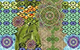 Vilber Bohemian Mandala Alfombra, Vinilo, Multicolor, 75x120x0.2cm