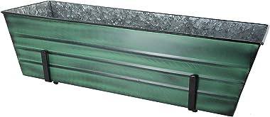 Achla Designs VFB-06-K6 Large Green Flower 2 x 6 Railings Window Box with Brackets