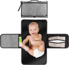 Baby Portable Changing Pad, Diaper Bag Changing Pad Station with Head Cushion, Wipes Pockets-Waterproof & Foldable for Anywhere Use(Grey)