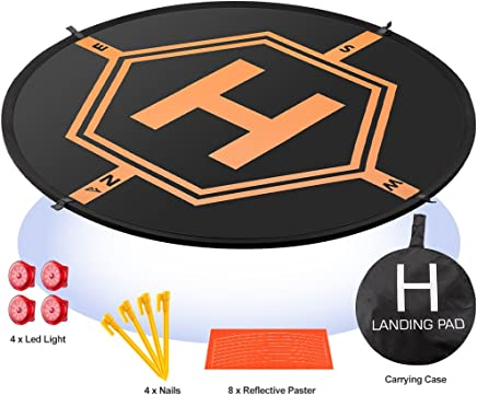 """$21 Get AURTEC Drone Landing Pad 4 LED Lights Included 32"""" Portable Fast-Fold RC Quadcopter Helipad for DJI Mavic Pro Air, Phantom 2 3 4 Pro, Inspire 2 1, Spark, Yuneec, 3DR Solo, GoPro Karma, Parrot & More"""