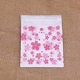 Dltmysh Bolsas de Galletas 50pcs 4Sizes Flor de Cerezo Rosada Impreso Torta del Regalo del Caramelo Paquetes Galletas Galletas Bolsas (Color : 10x10cm)
