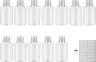 INNOLIFE Plastic Bottles with Flip Top Cap, 2oz 60ml Small Plastic Squeeze Bottles Refillable Travel Bottles for Toiletries and Lotions, 12 Pack Empty Cosmetic Containers-Bonus 14pcs Labels